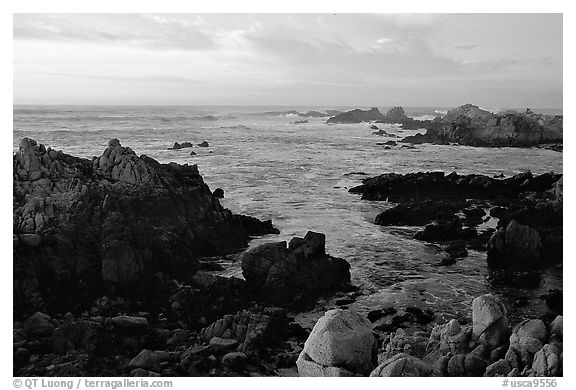 Coastline at sunset, Asilomar State Beach. Pacific Grove, California, USA (black and white)