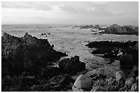 Coastline at sunset, Asilomar State Beach. Pacific Grove, California, USA ( black and white)