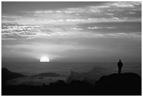 Man watching sunset over ocean. Pacific Grove, California, USA ( black and white)