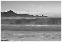 Surf at  sunset,  Carmel River State Beach. Carmel-by-the-Sea, California, USA (black and white)