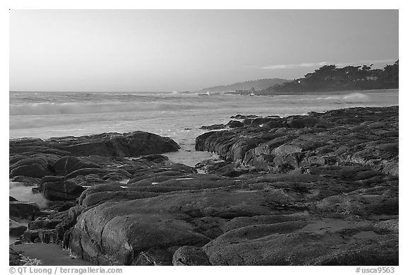 Rock ledges at  sunset,  Carmel River State Beach. Carmel-by-the-Sea, California, USA (black and white)