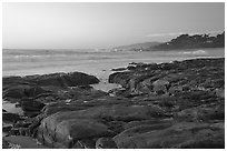 Rock ledges at  sunset,  Carmel River State Beach. Carmel-by-the-Sea, California, USA ( black and white)