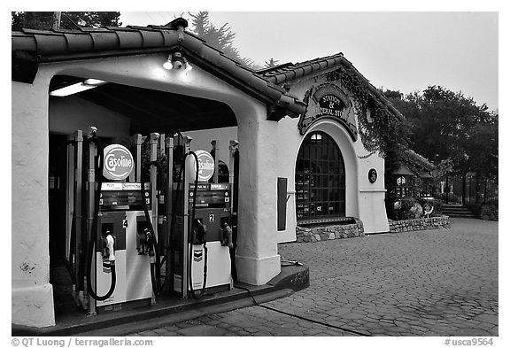 Gas station, highway 1. Carmel-by-the-Sea, California, USA (black and white)