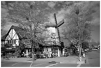 Windmill, Danish village of Solvang. California, USA (black and white)
