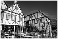 Half-timbered houses, Danish village of Solvang. California, USA (black and white)