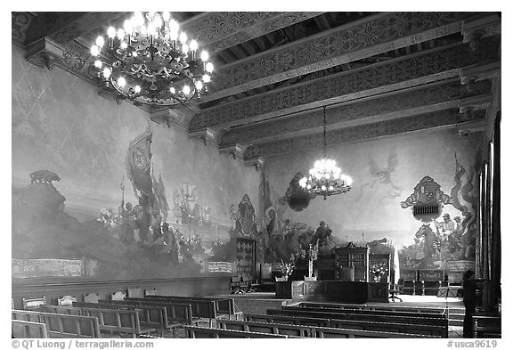 Decorated mural  room of the courthouse. Santa Barbara, California, USA (black and white)