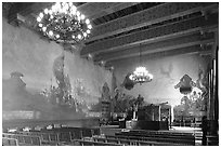 Decorated mural  room of the courthouse. Santa Barbara, California, USA ( black and white)