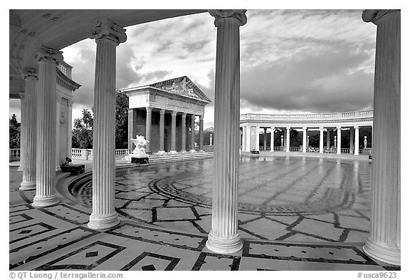 Neptune Pool at Hearst Castle. California, USA (black and white)