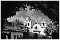 Mission San Carlos Borromeo Del Rio Carmelo. Carmel-by-the-Sea, California, USA (black and white)