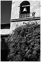 Bell tower of Carmel Mission. Carmel-by-the-Sea, California, USA (black and white)