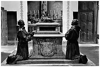 Statues of the fathers, Carmel Mission. Carmel-by-the-Sea, California, USA (black and white)