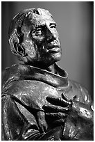 Statue of Father Junipero Serra, Carmel Mission. Carmel-by-the-Sea, California, USA (black and white)