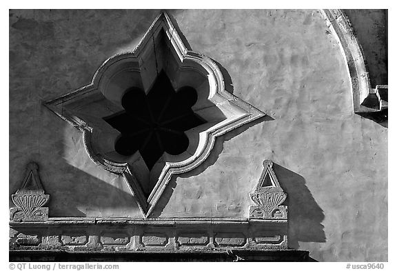Opening detail, Carmel Mission. Carmel-by-the-Sea, California, USA (black and white)
