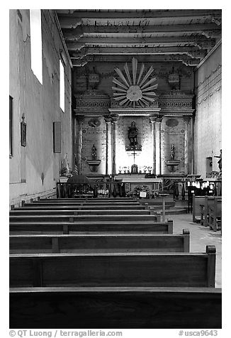 Chapel, Mission San Miguel Arcangel. California, USA (black and white)