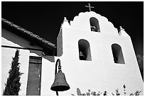 Cross and bell tower, Mission Santa Inez. California, USA (black and white)