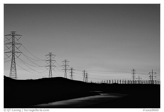 Power lines at sunset, Central Valley. California, USA (black and white)