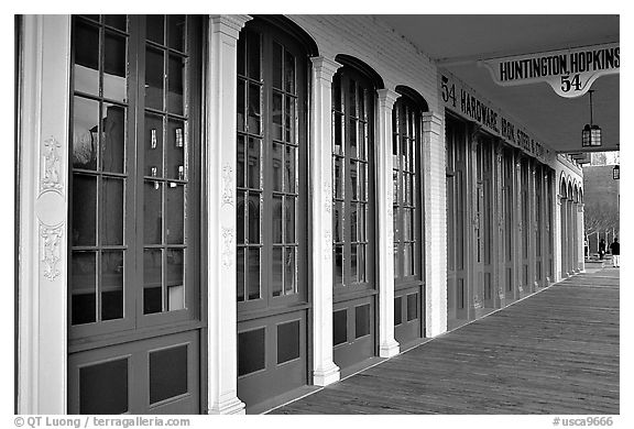 Storefront in historic district. Sacramento, California, USA (black and white)