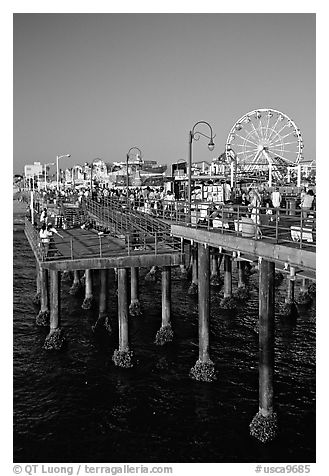 Pier and Ferris Wheel, late afternoon. Santa Monica, Los Angeles, California, USA (black and white)