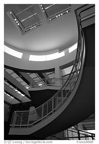 Interior of Entrance Hall, sunset, Getty Museum, Brentwood. Los Angeles, California, USA (black and white)