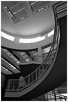 Interior of Entrance Hall, sunset, Getty Museum, Brentwood. Los Angeles, California, USA ( black and white)