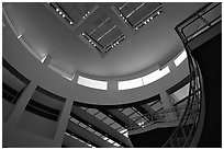 Interior of Entrance Hall of Museum, sunset, Getty Center, Brentwood. Los Angeles, California, USA ( black and white)