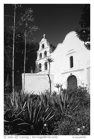 Agaves and front of Mission San Diego de Alcala. San Diego, California, USA (black and white)