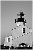 Old Point Loma Lighthouse, sunset. San Diego, California, USA ( black and white)