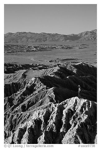 Visitor at Font Point. Anza Borrego Desert State Park, California, USA (black and white)