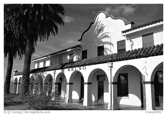 Train depot, Kelso. Mojave National Preserve, California, USA (black and white)