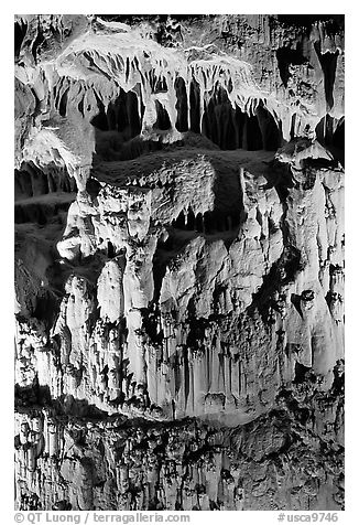 Cave formations, Mitchell caverns. Mojave National Preserve, California, USA (black and white)