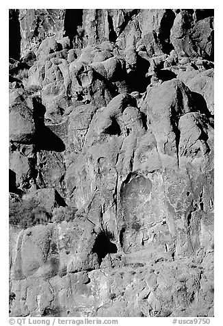 Volcanic cliff, Hole-in-the-wall. Mojave National Preserve, California, USA (black and white)