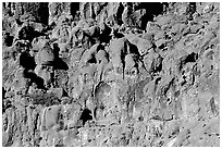 Cliff of volcanic rock, Hole-in-the-wall. Mojave National Preserve, California, USA ( black and white)