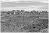 Trona Pinnacles rising from the bed of the Searles Dry Lake basin. California, USA (black and white)