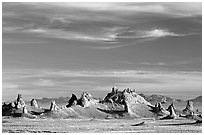Tufa towers, Trona Pinnacles, late afternoon. California, USA (black and white)