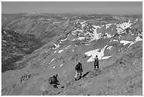 Hikers below Round Top Mountain. Mokelumne Wilderness, Eldorado National Forest, California, USA (black and white)