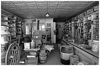 Interior of general store, Ghost Town, Bodie State Park. California, USA (black and white)