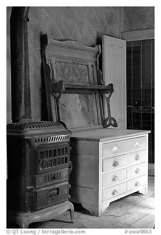 Interior furnishings, Ghost Town, Bodie State Park. California, USA (black and white)