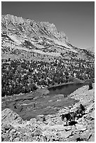 Horseback rider above Long Lake, Inyo National Forest. California, USA ( black and white)