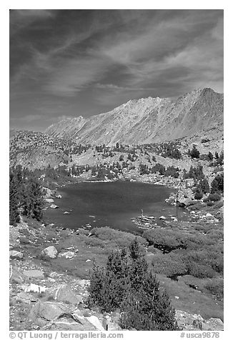 Fishing in small mountain lake, Inyo National Forest. California, USA (black and white)