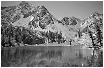 Emerald waters of a mountain lake, Inyo National Forest. California, USA (black and white)