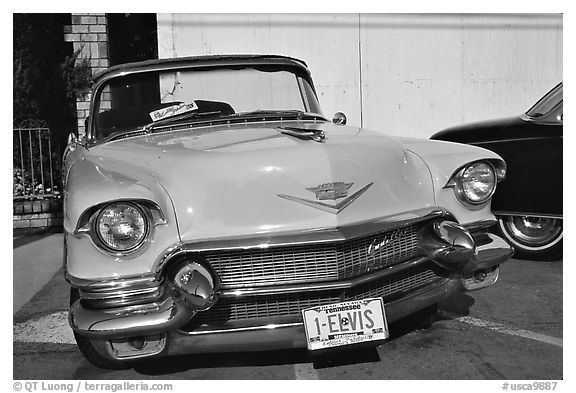 Classic Pink car, Bishop. California, USA (black and white)