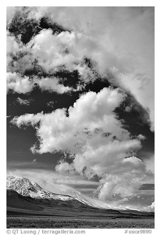 Clouds and Sierra, Owens Valley. California, USA (black and white)