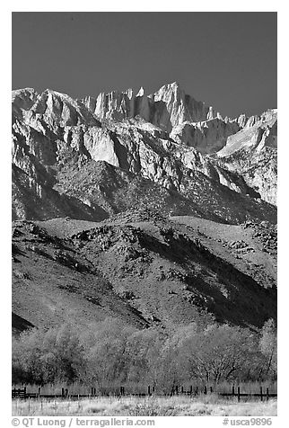 Mt Whitney, Sierra Nevada range, and foothills. California, USA (black and white)