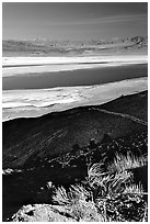 Owens Lake, Argus and Panamint Ranges, afternoon. California, USA (black and white)