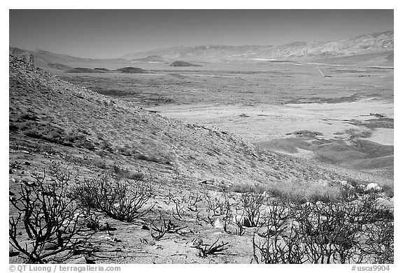 Owens Valley seen from the Sierra Nevada mountains. California, USA (black and white)