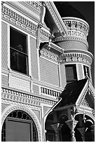 Victorian facade detail of the Pink Lady,  Eureka. California, USA (black and white)