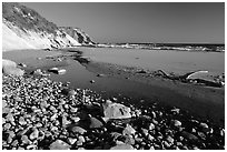 Pebbles, pool, and beach near Fort Bragg. California, USA (black and white)