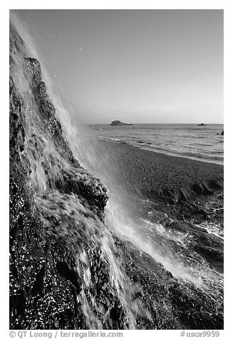 Alamere Falls, afternoon. Point Reyes National Seashore, California, USA (black and white)