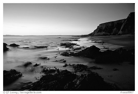 Rocks and surf, Sculptured Beach, sunset. Point Reyes National Seashore, California, USA (black and white)