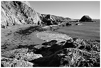McClures Beach, afternoon. Point Reyes National Seashore, California, USA (black and white)